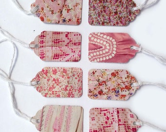 """14 Assorted Pink Floral and Patterns Recycled Paper Gift Tags 1 1/2"""" x 15/16"""" 65lb Repurposed Cardstock Paper"""