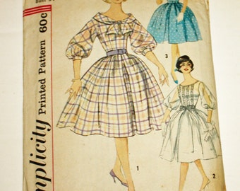 Vintage 1960s, Sewing Pattern, Simplicity 3431, Misses' One-Piece Dress, Missses' Size 14, Bust 34