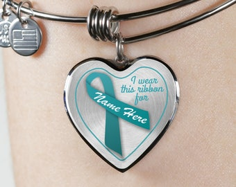 Personalized Ovarian Cancer Patient Supporter Bangle Bracelet,Teal Ribbon,Chemo Surgery Gift,Personalized Engraved,Custom Made with Any Name
