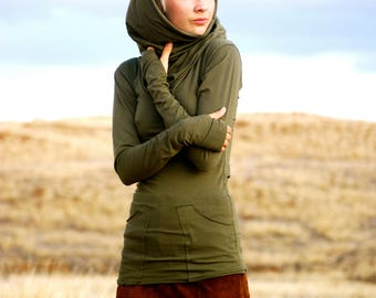 Long Sleeve Fitted Tunic Cowl Hoodie with Pockets and Thumbholes- Olive Green - Organic Clothing - Eco - Friendly for Women