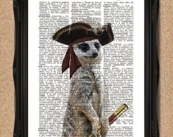 Funny Meerkat Print Pirate Meerkat Gift Steampunk Pirate Dictionary Page Print, Pirate Animal Art Print, Pirate Art, Pirate Print A115