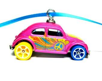 VW Volkswagen Groovy Old School Beetle Bug Car Hot Wheels Ornament
