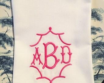 Pagoda Frame 3 Letter Monogrammed Napkins Set of 6