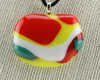 Orange yellow white teal red fused glass pendant - Multi-colored layered glass pendant - Multi-colored glass necklace - Fused glass necklace