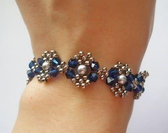 Beaded Bracelet Pattern Tutorial - Blue Silver Pearl Metal Bracelet (BB025) - Beading Jewelry PDF Tutorial (Digital Download)