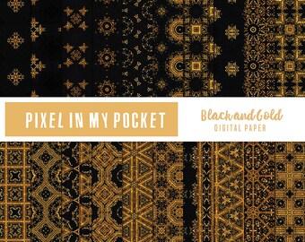 Black and Gold Digital Patterned Paper Pack [Instant Download]