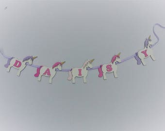 Personalised Unicorn Wooden Name Garland (Price Per Letter)