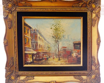Vintage Original Signed Oil Painting of Paris Street Scene, Mid Century Modern