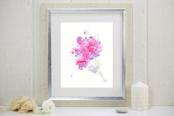 "Watercolor flower print: ""May Bouquet"""