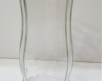 CLEARANCE - Decorative Ribbed Glass Vase for Flower or Dried Arrangement