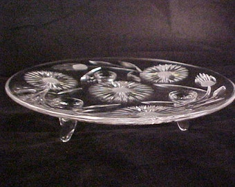 "Vintage Dandelion Cut Glass 3 Footed Cake Plate, Mid Century 10"" Elegant Cut Crystal Serving Glassware, Peg Foot Cabinet Dish"