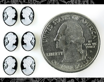 Six Black and White Feminine Profile 6x8mm Resin Cameos  * CAM130