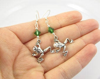 Frog Earrings- choose a birthstone, Frog Jewelry, Frog Gift, Silver Frog Earrings, Silver Frog Jewelry, Frog Charms, Frogs, Frog Birthday