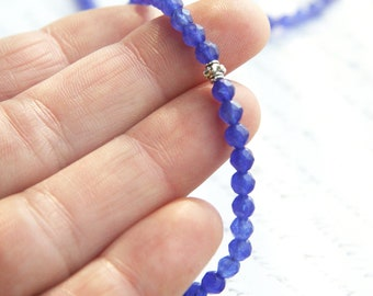 Mothers Day Gift Blue Sapphire Bracelet Minimal Bracelet September Birthstone Beaded Bracelet Cut AAA Grade Genuine Gemstone Thin Bracelet