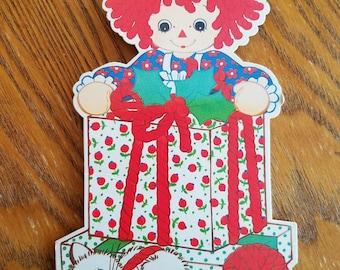Vintage Raggedy Ann Hallmark Bobbs Merrill Gift Trim and Tie, Red Yarn, Christmas, Kitten