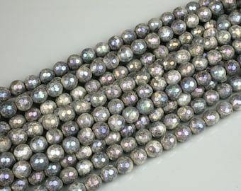 Larvikite Marble Labradorite AB facetted Round 4mm, 6mm, 8mm, 10mm, 12mm, 14mm- Wholesale Bulk or Single Strand!