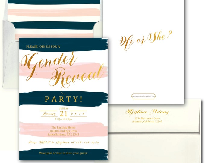 Blush Pink Blue Gold Gender Reveal Invitation // Pink or Blue // He or She // Watercolor // Boy or Girl // SANTA BARBARA COLLECTION