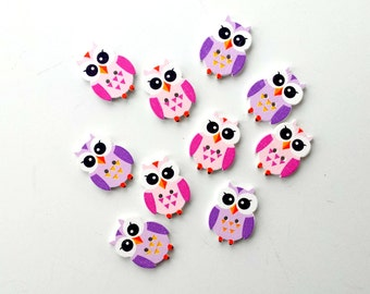 10 cute wooden owl buttons (pink & purple)