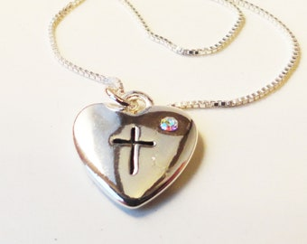 Puffed Heart and Cross Necklace with Crystal N0060
