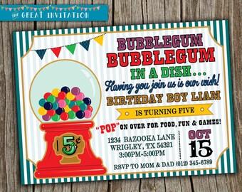 Bubblegum Invitation/ Bubblegum Birthday Party/ Bubble gum Invite/ Bubble Gum Machine Invite/ Boy Girl Birthday Invite/ Candy Theme
