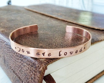 you are loved - Copper Stamped Cuff Bracelet