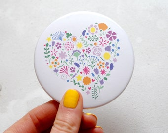 Floral heart mirror – pocket mirror – Mother gift – mum gift – pocket mirror –gift for her – bridesmaid gift – gift for mother