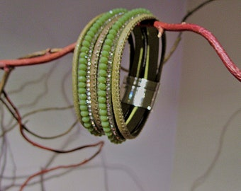 NEW COLLECTION Cuff Bracelet green pistachio with cords and magnetic clasp
