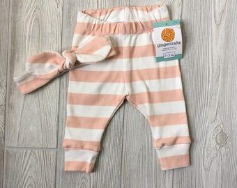 0-3 MO - pink stripe with headband