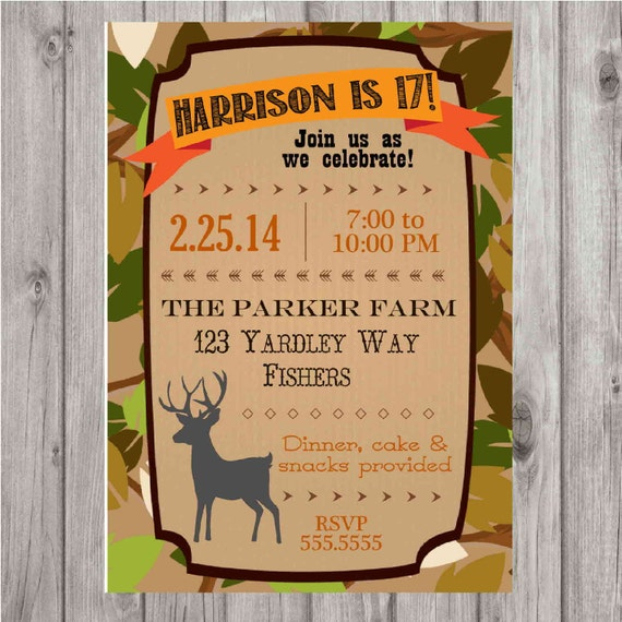 Digital Deer Hunting Birthday Party Personalized Invitation