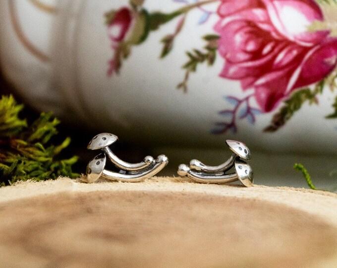 Mushroom Duo Stud Earrings, Sterling Silver