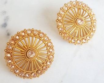 Gold Round Stud Earrings with Polki Accent Stones - Indian Jewelry, Indian Bridal Jewelry, Indian Bridesmaid Gift, Studs for Wedding Gold