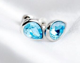 Water Drop Crystal Earrings – 925 Sterling Silver – Blue Color – Teardrop Shape – Studs -Wedding Jewelry - E047