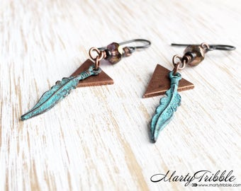 Copper Triangle Feather Earrings, Boho Earrings, Long Dangle Earrings, Mixed Metal Earrings, Triangle Earring, Turquoise Feather Earring