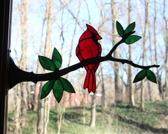 Stained Glass Cardinal on a Branch