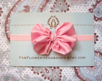 Pink Large Bow Headband - Pink Baby Big Bow Headband - Big Bow Newborn Headband - Messy Bow Headband - Big Pink Bow Headband