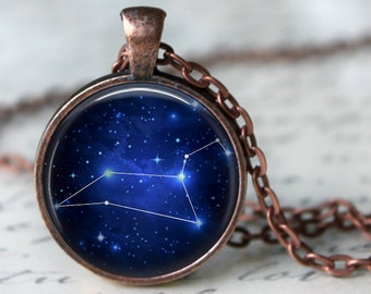 Leo Constellation Zodiac Pendant Necklace or Key Chain - Choice of 4 Bezel Colors - July 23rd - Aug. 22nd Birthday, Constellations, Space