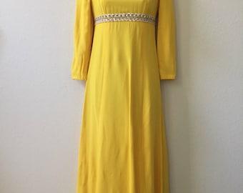 1970s dress, yellow maxi dress, disco dress, XS dress, vintage party dress, empire waist dress, shimmery dress, sparkly dress, petite dress