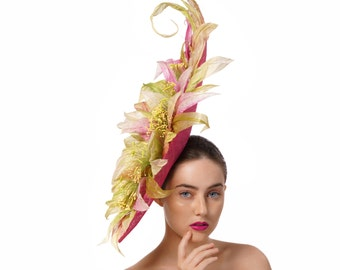 Grandiose Floral Races Hat, Green and Pink Fascinator