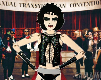 Dr Frank n Furter The Rocky horror picture show Tim Curry tribute fan art paper doll assembled articulated