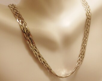 Sterling Silver Braided Woven Herringbone Necklace