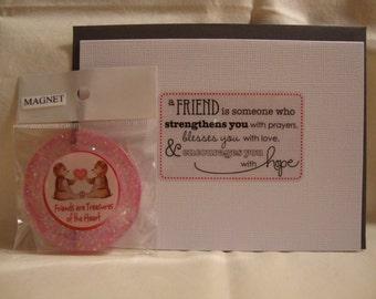 magnet, friend magnet, friendship, gift set, pink magnet, friend gift, friend decor,refrig magnet, home decor, kitchen items, resin(113)