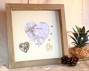 Map housewarming gift , new home map gift, Home sweet home, heart map frame , personalised map frame , rustic new home, first home map print