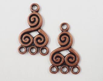 Copper Chandelier Earring Findings 21x13mm Antique Copper Metal Swirl Spiral 3 to 1 Earring Connector Jewelry Making Jewelry Findings 6pcs
