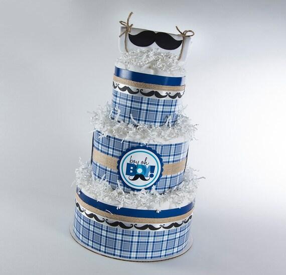 Diaper Cake - Baby Gift - Baby Shower Gift - Mustache Baby Shower - Boy Oh Boy Baby Shower - Shabby Chic Baby Shower - Mustache Diaper Cake