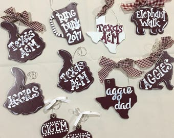 Texas A&M Aggies Christmas Ornaments - made to order
