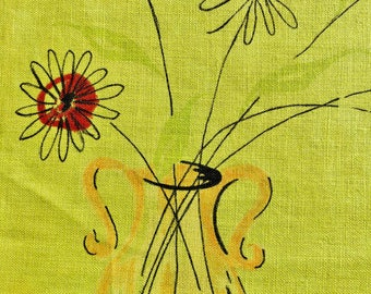 Vintage 50s Mid Century Linen 4 Placemats Lime Green