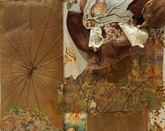 Original Mixed Media Collage Art - Meadow