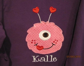 One Eyed Monster applique t shirt