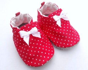 cotton, non-slip leather sole baby shoes red with white satin bow