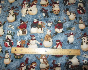 1.5 Yards/54 Inches Blue with Multicolored Snowmen Fabric